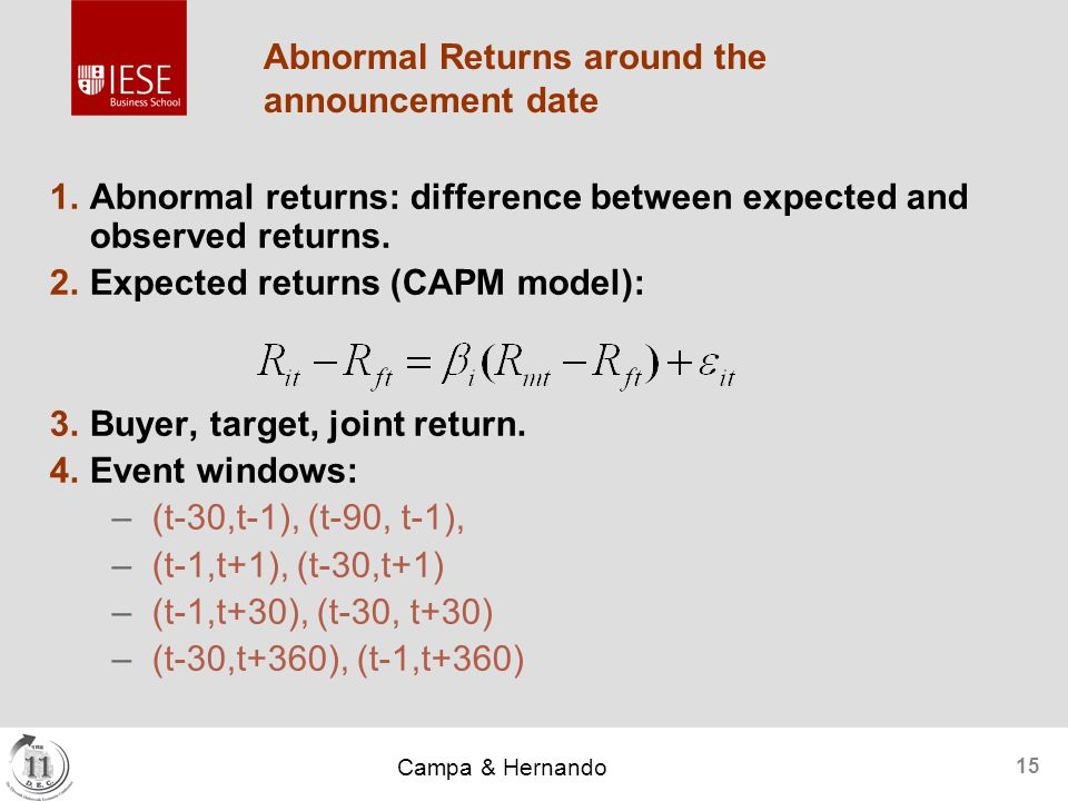 Campa & Hernando 15 Abnormal Returns around the announcement date  Abnormal returns: difference between expected and observed returns.