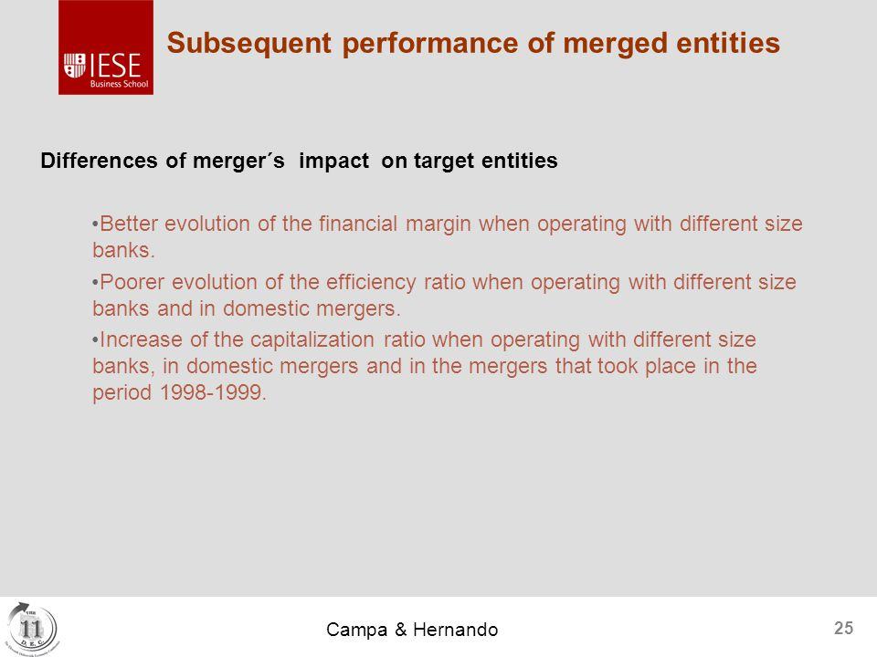 Campa & Hernando 25 Subsequent performance of merged entities Differences of merger´s impact on target entities Better evolution of the financial margin when operating with different size banks.