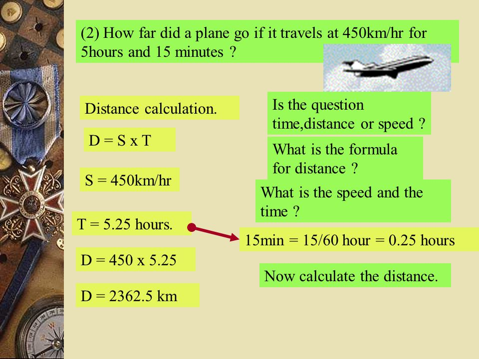 (2) How far did a plane go if it travels at 450km/hr for 5hours and 15 minutes ? Is the question time,distance or speed ? Distance calculation. What i