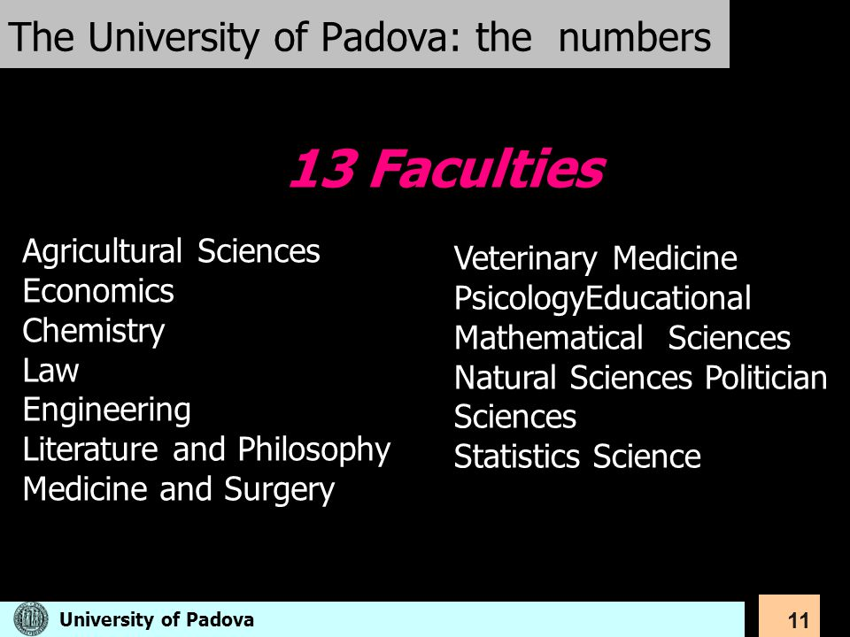 11 The University of Padova: the numbers Veterinary Medicine PsicologyEducational Mathematical Sciences Natural Sciences Politician Sciences Statistic