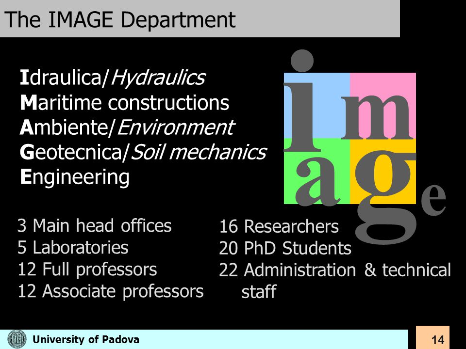 14 The IMAGE Department i m a gege Idraulica/Hydraulics Maritime constructions Ambiente/Environment Geotecnica/Soil mechanics Engineering 3 Main head