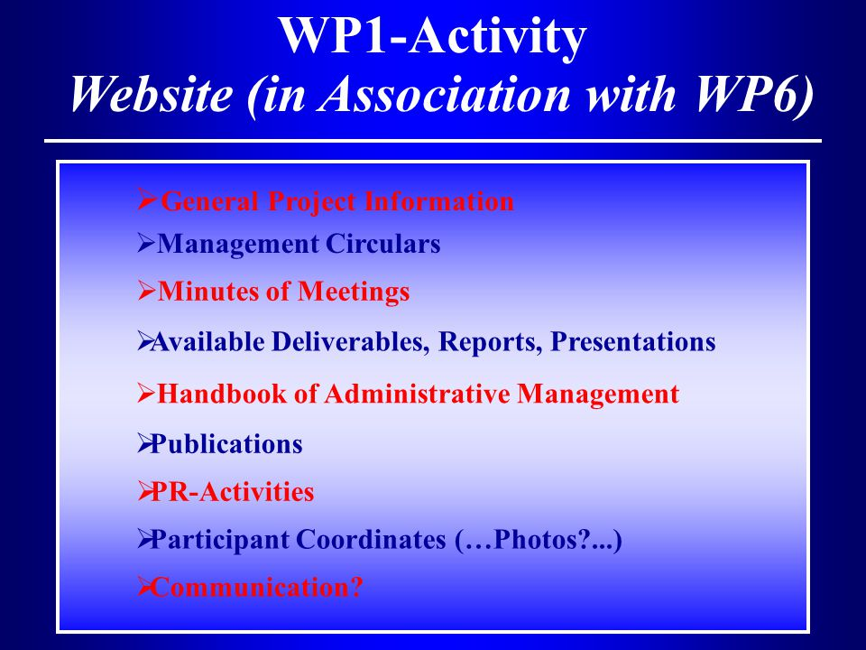 WP1-Activity Website (in Association with WP6)  General Project Information  Management Circulars  Minutes of Meetings  Handbook of Administrative Management  Available Deliverables, Reports, Presentations  Publications  PR-Activities  Participant Coordinates (…Photos?...)  Communication?