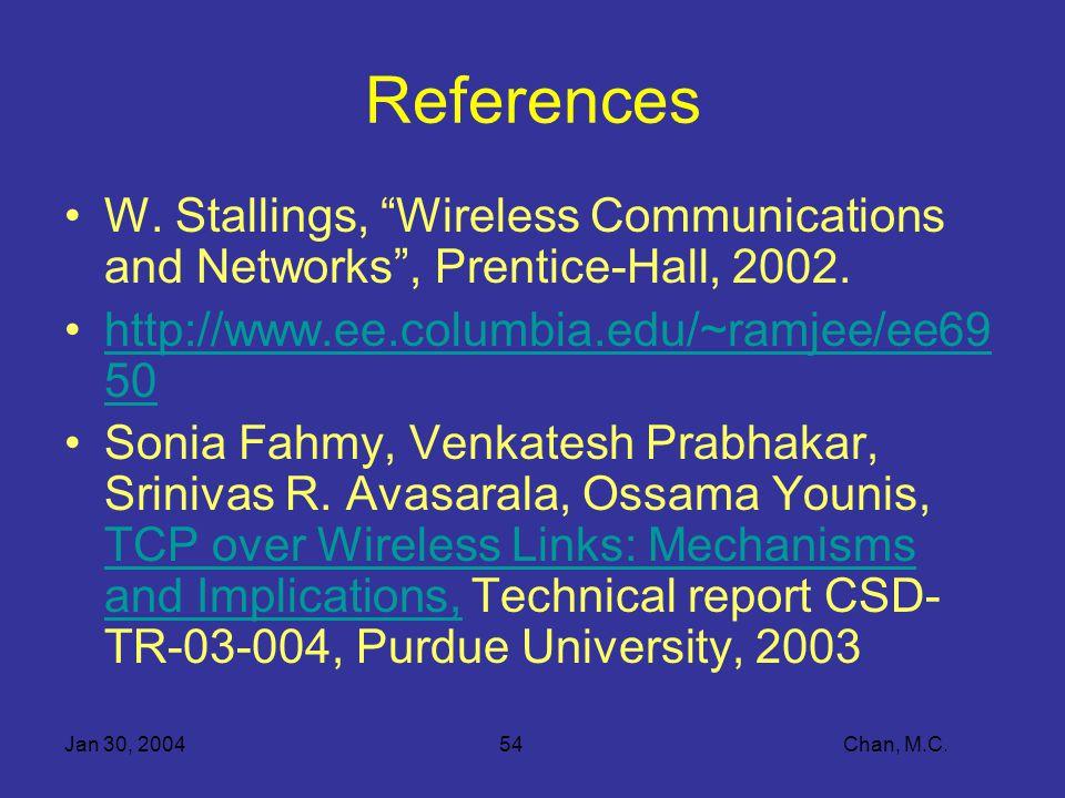 Jan 30, 200454 Chan, M.C. References W.