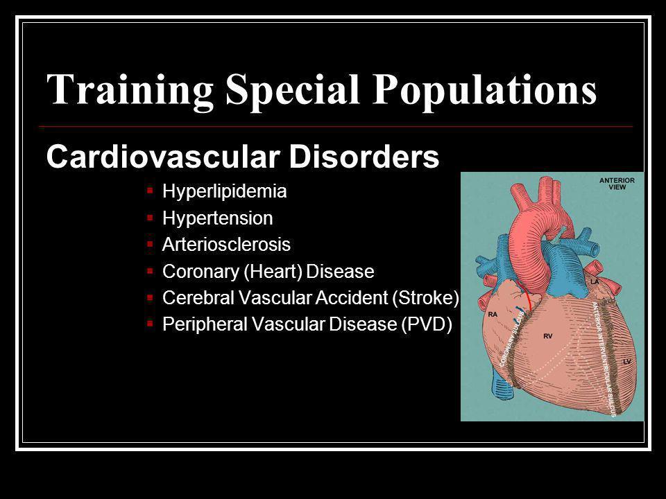 Training Special Populations Cardiovascular Disorders  Hyperlipidemia  Hypertension  Arteriosclerosis  Coronary (Heart) Disease  Cerebral Vascula