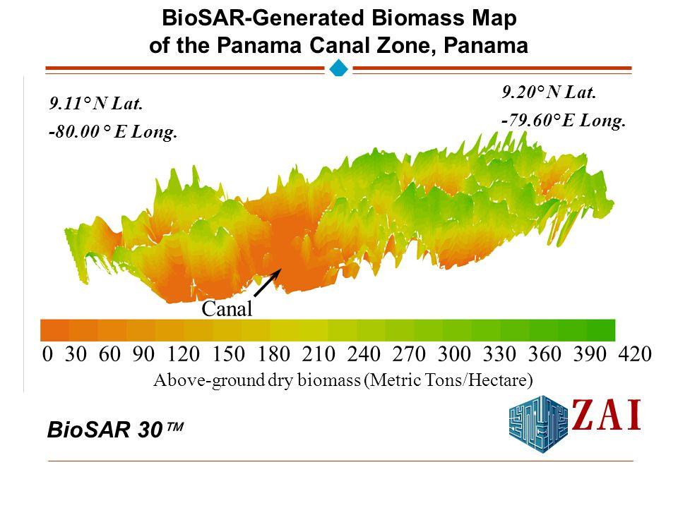 BioSAR 30  BioSAR-Generated Biomass Map of the Panama Canal Zone, Panama 0 30 60 90 120 150 180 210 240 270 300 330 360 390 420 9.11° N Lat.