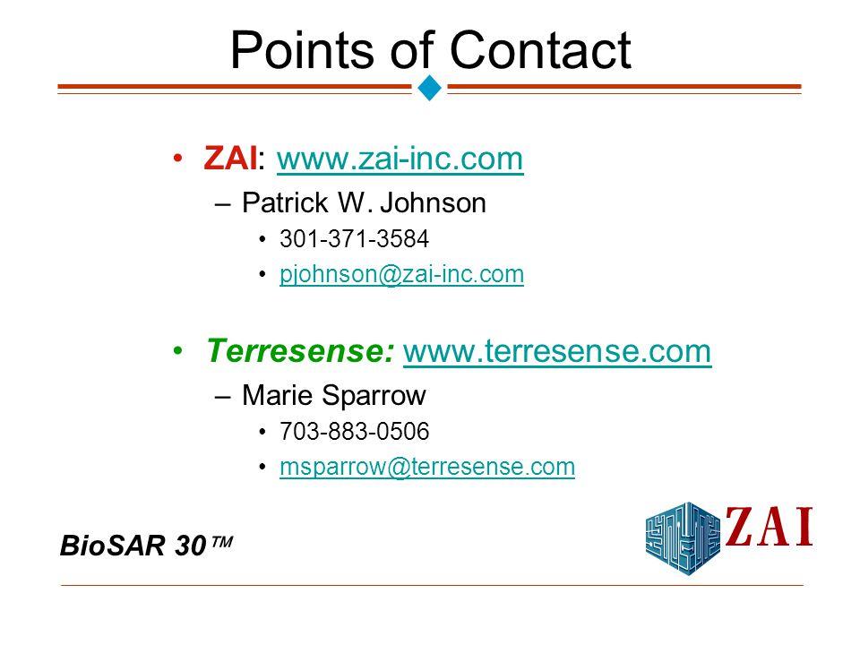 BioSAR 30  Points of Contact ZAI: www.zai-inc.comwww.zai-inc.com –Patrick W.