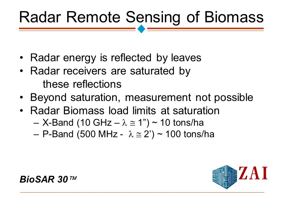 BioSAR 30  Radar Remote Sensing of Biomass Radar energy is reflected by leaves Radar receivers are saturated by these reflections Beyond saturation, measurement not possible Radar Biomass load limits at saturation –X-Band (10 GHz –  1 ) ~ 10 tons/ha –P-Band (500 MHz -  2') ~ 100 tons/ha