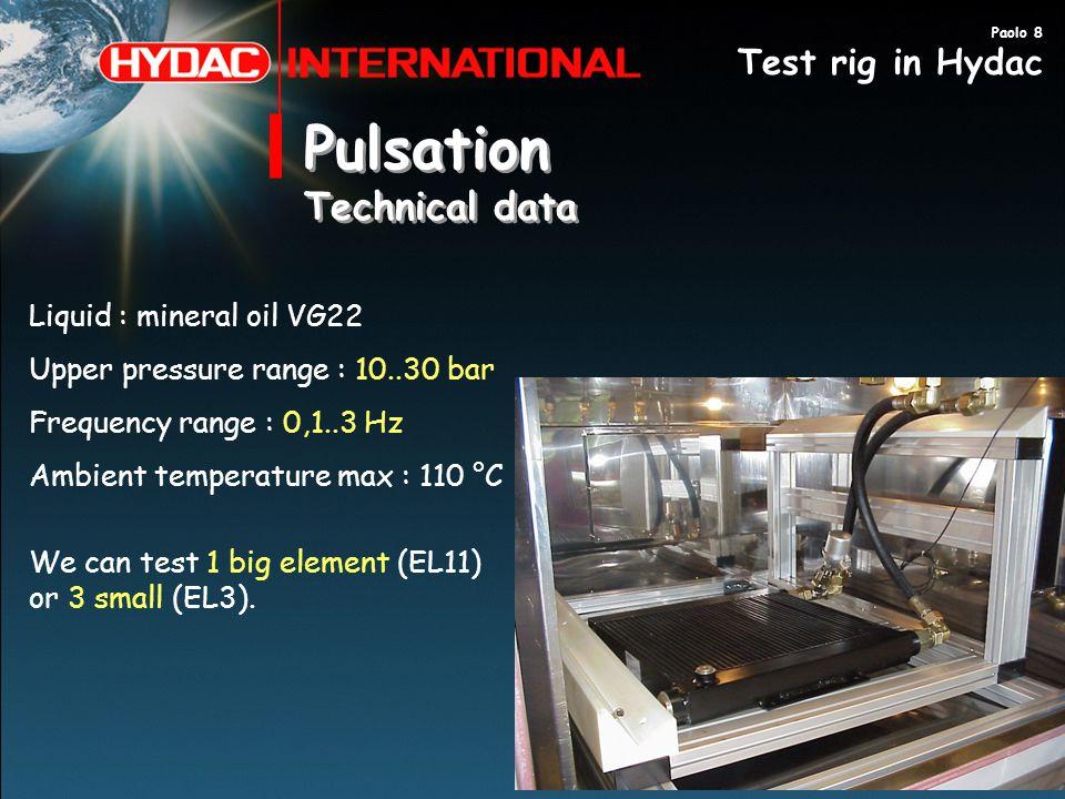 Pulsation Technical data Pulsation Technical data Liquid : mineral oil VG22 Upper pressure range : 10..30 bar Frequency range : 0,1..3 Hz Ambient temp