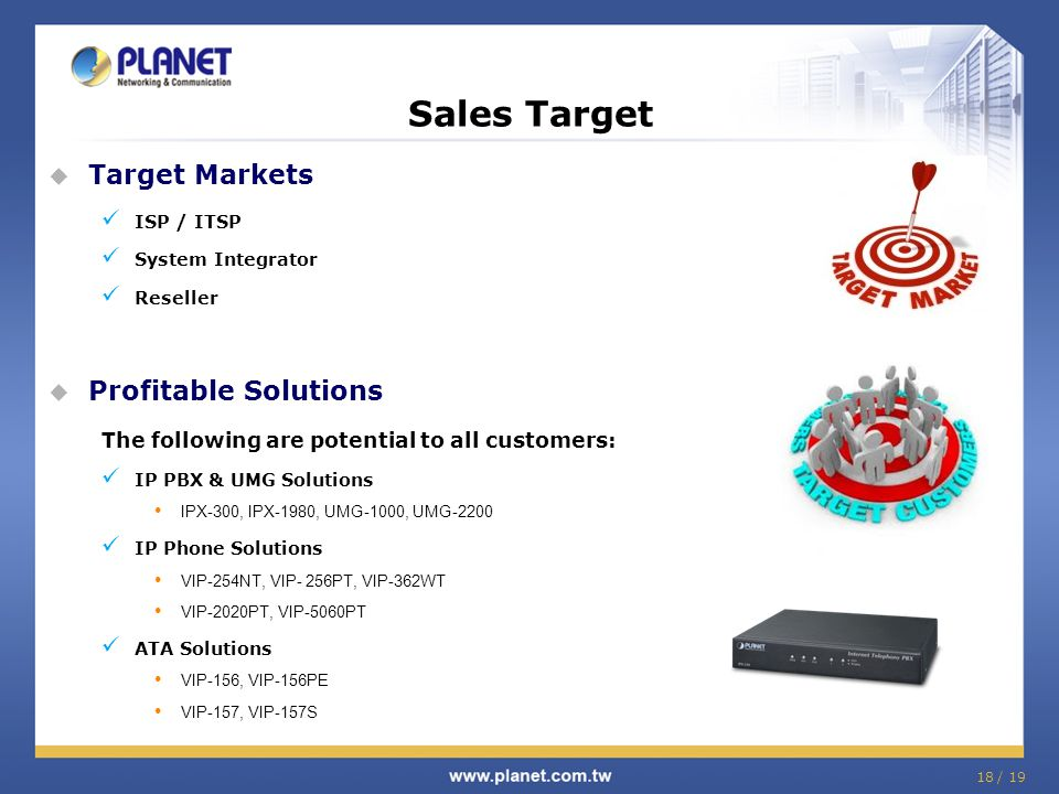 Target Markets ISP / ITSP System Integrator Reseller  Profitable Solutions The following are potential to all customers: IP PBX & UMG Solutions IPX