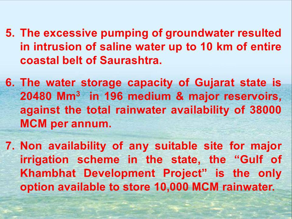 5.The excessive pumping of groundwater resulted in intrusion of saline water up to 10 km of entire coastal belt of Saurashtra. 6.The water storage cap