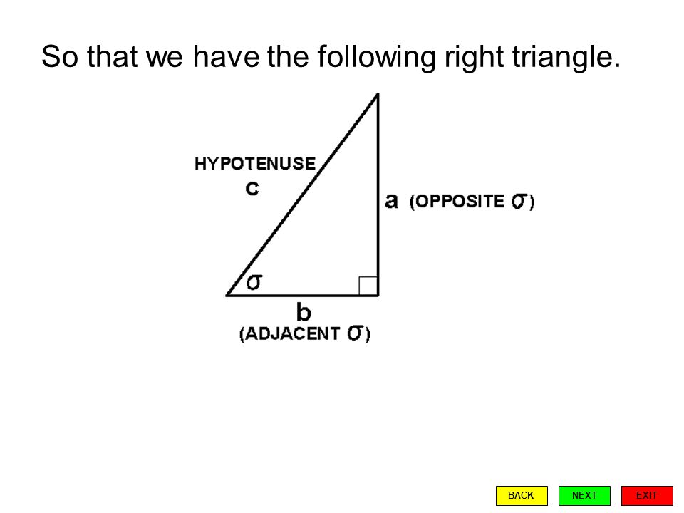 So that we have the following right triangle. EXIT BACKNEXT