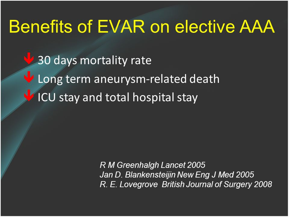 Benefits of EVAR on elective AAA  30 days mortality rate  Long term aneurysm-related death  ICU stay and total hospital stay R M Greenhalgh Lancet 2005 Jan D.