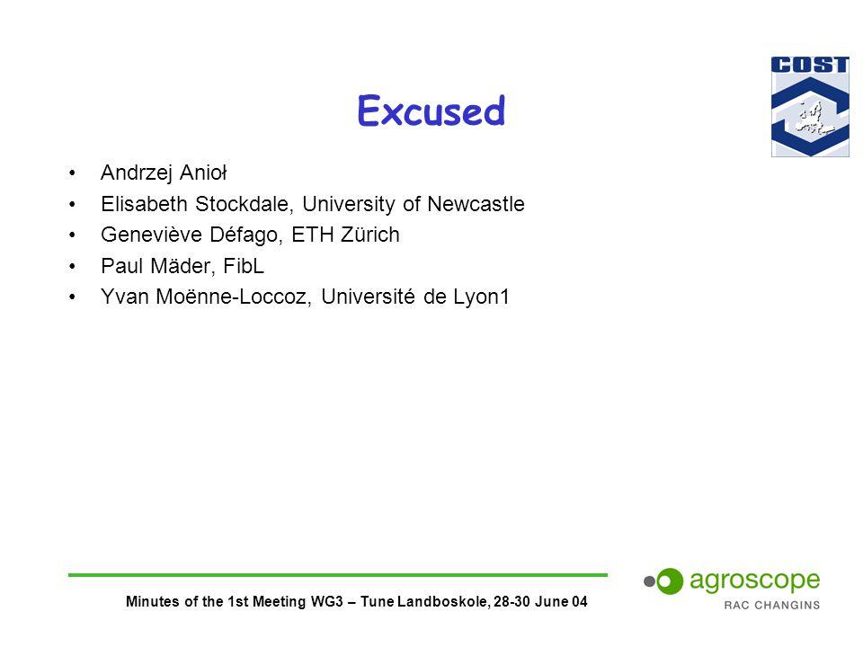 Minutes of the 1st Meeting WG3 – Tune Landboskole, 28-30 June 04 Excused Andrzej Anioł Elisabeth Stockdale, University of Newcastle Geneviève Défago, ETH Zürich Paul Mäder, FibL Yvan Moënne-Loccoz, Université de Lyon1