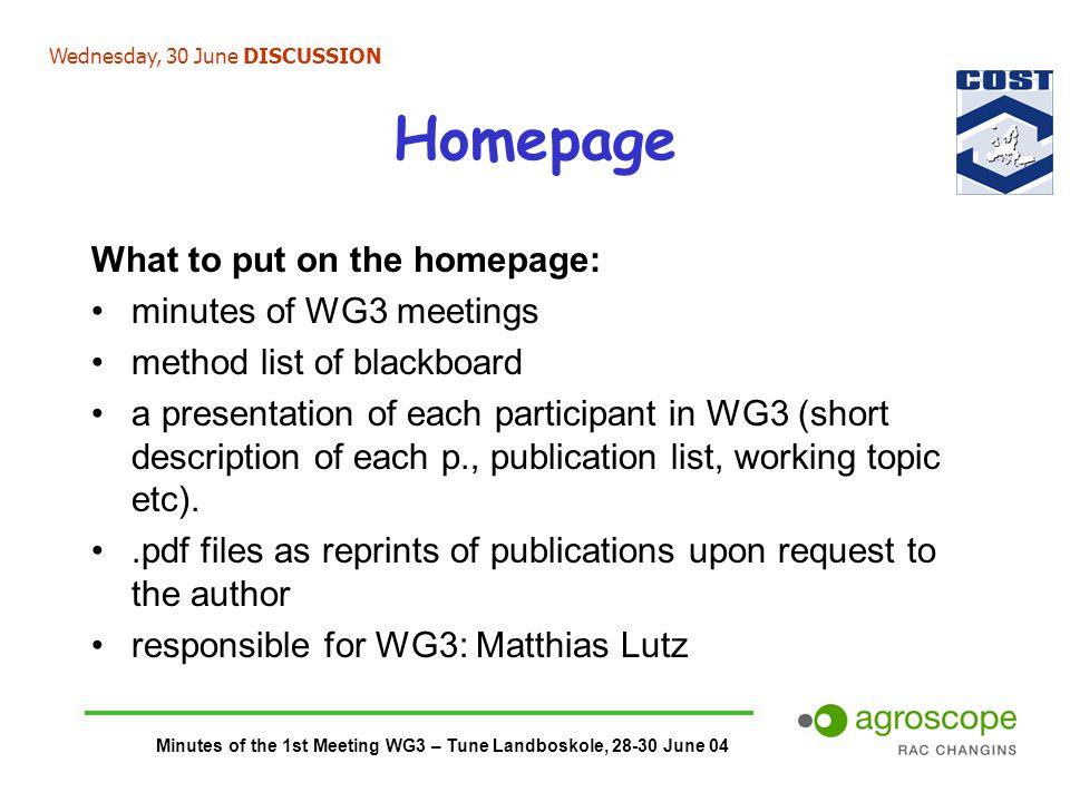 Minutes of the 1st Meeting WG3 – Tune Landboskole, 28-30 June 04 Homepage What to put on the homepage: minutes of WG3 meetings method list of blackboa
