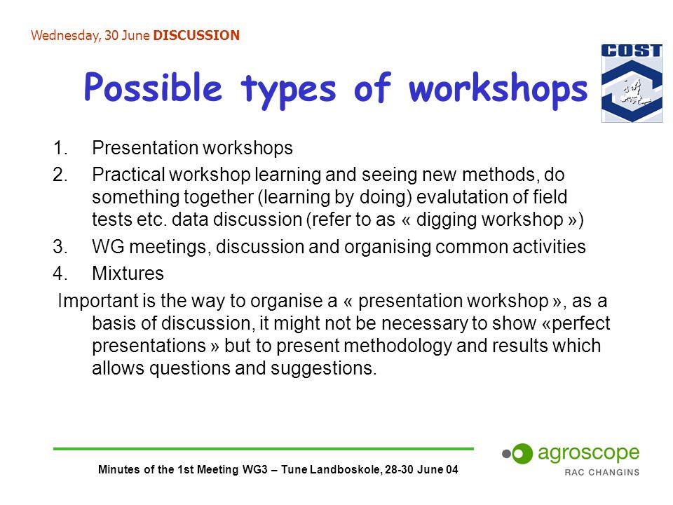 Minutes of the 1st Meeting WG3 – Tune Landboskole, 28-30 June 04 Possible types of workshops 1.Presentation workshops 2.Practical workshop learning an