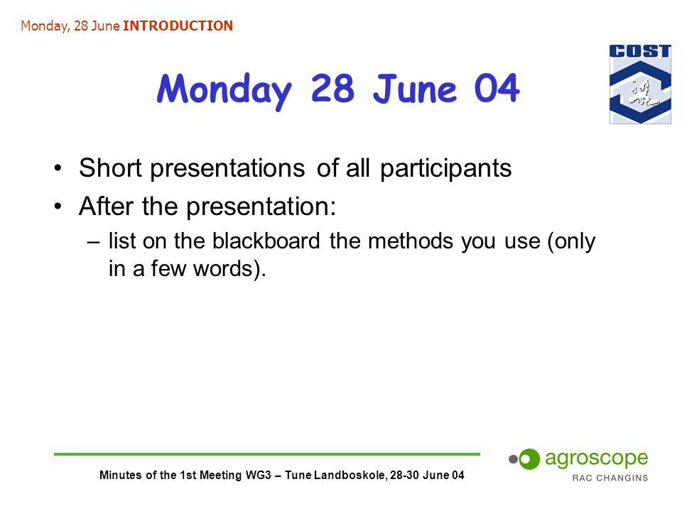 Minutes of the 1st Meeting WG3 – Tune Landboskole, 28-30 June 04 Monday 28 June 04 Short presentations of all participants After the presentation: –li