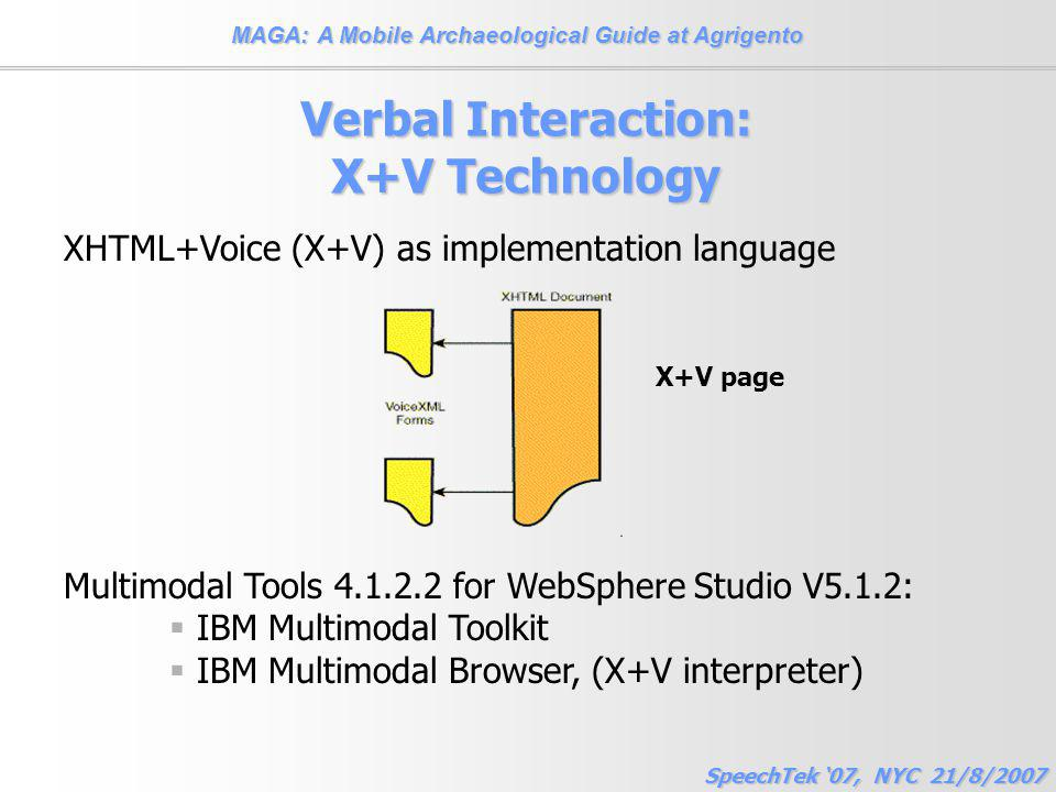 MAGA: A Mobile Archaeological Guide at Agrigento SpeechTek '07, NYC 21/8/2007 Verbal Interaction: X+V Technology XHTML+Voice (X+V) as implementation language Multimodal Tools 4.1.2.2 for WebSphere Studio V5.1.2:  IBM Multimodal Toolkit  IBM Multimodal Browser, (X+V interpreter) X+V page