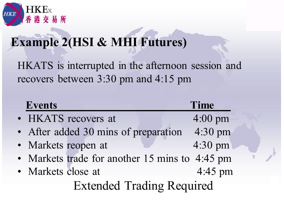 Example 2(HSI & MHI Futures) HKATS is interrupted in the afternoon session and recovers between 3:30 pm and 4:15 pm Events Time___ HKATS recovers at 4:00 pm After added 30 mins of preparation 4:30 pm Markets reopen at 4:30 pm Markets trade for another 15 mins to 4:45 pm Markets close at 4:45 pm Extended Trading Required