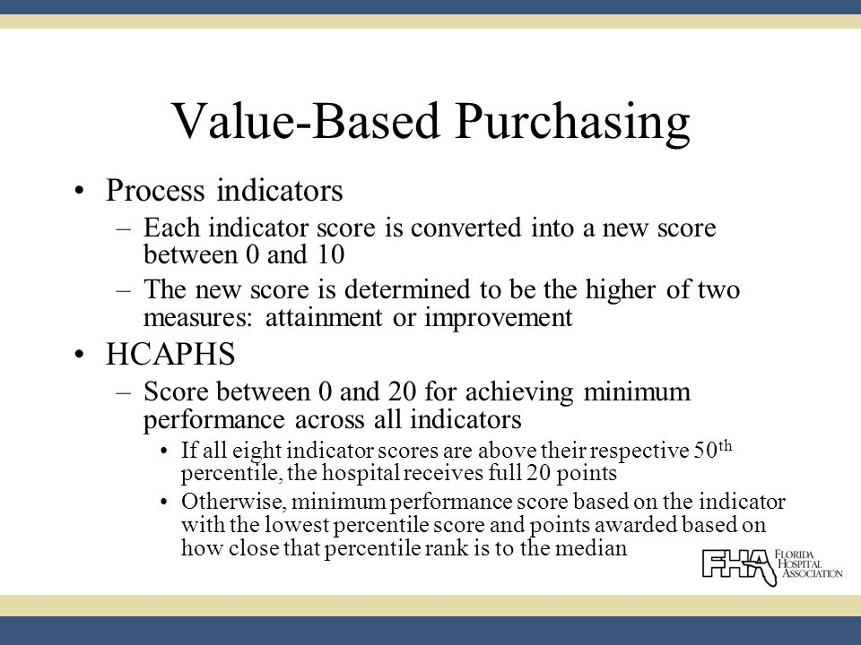 Value-Based Purchasing Process indicators –Each indicator score is converted into a new score between 0 and 10 –The new score is determined to be the higher of two measures: attainment or improvement HCAPHS –Score between 0 and 20 for achieving minimum performance across all indicators If all eight indicator scores are above their respective 50 th percentile, the hospital receives full 20 points Otherwise, minimum performance score based on the indicator with the lowest percentile score and points awarded based on how close that percentile rank is to the median