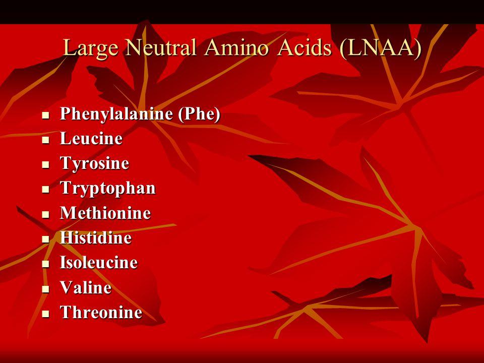 Large Neutral Amino Acids (LNAA) Phenylalanine (Phe) Phenylalanine (Phe) Leucine Leucine Tyrosine Tyrosine Tryptophan Tryptophan Methionine Methionine Histidine Histidine Isoleucine Isoleucine Valine Valine Threonine Threonine