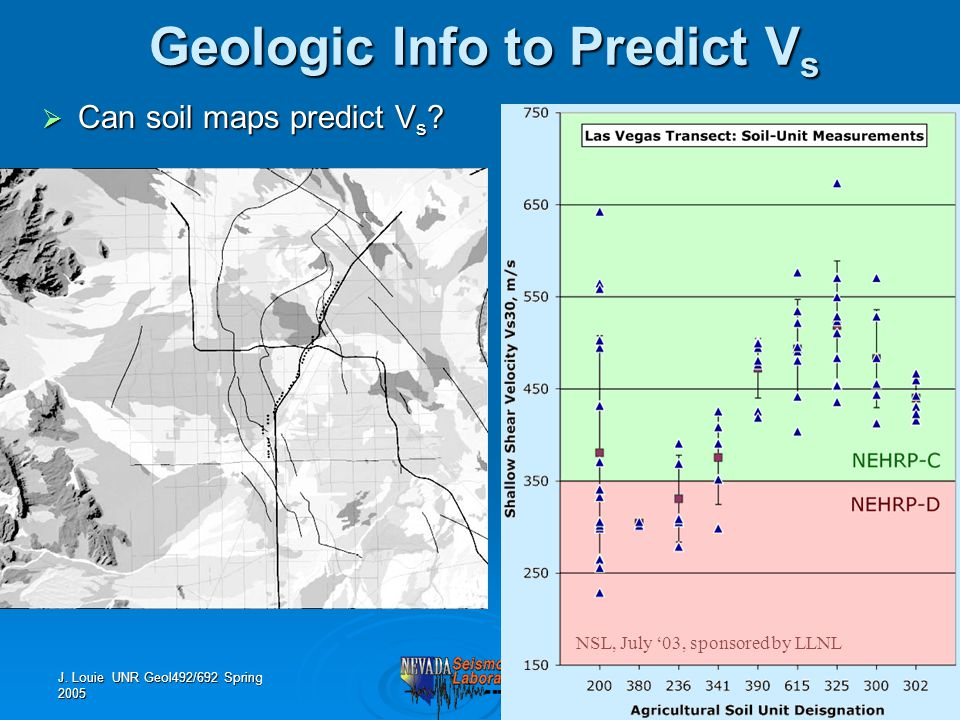 J. Louie UNR Geol492/692 Spring 2005 Geologic Info to Predict V s NSL, July '03, sponsored by LLNL  Can soil maps predict V s ?