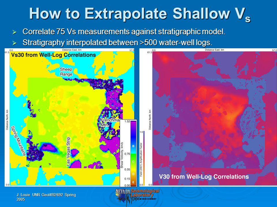 J. Louie UNR Geol492/692 Spring 2005 How to Extrapolate Shallow V s  Correlate 75 Vs measurements against stratigraphic model.  Stratigraphy interpo