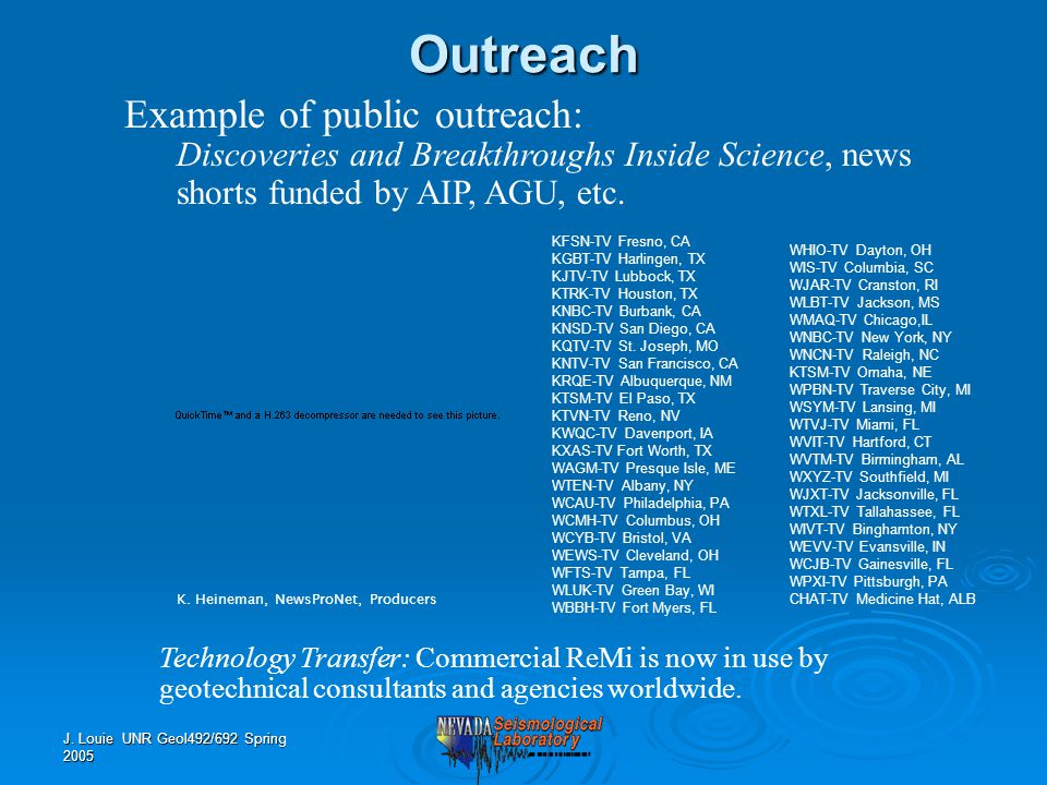 J. Louie UNR Geol492/692 Spring 2005 Example of public outreach: Discoveries and Breakthroughs Inside Science, news shorts funded by AIP, AGU, etc.Out
