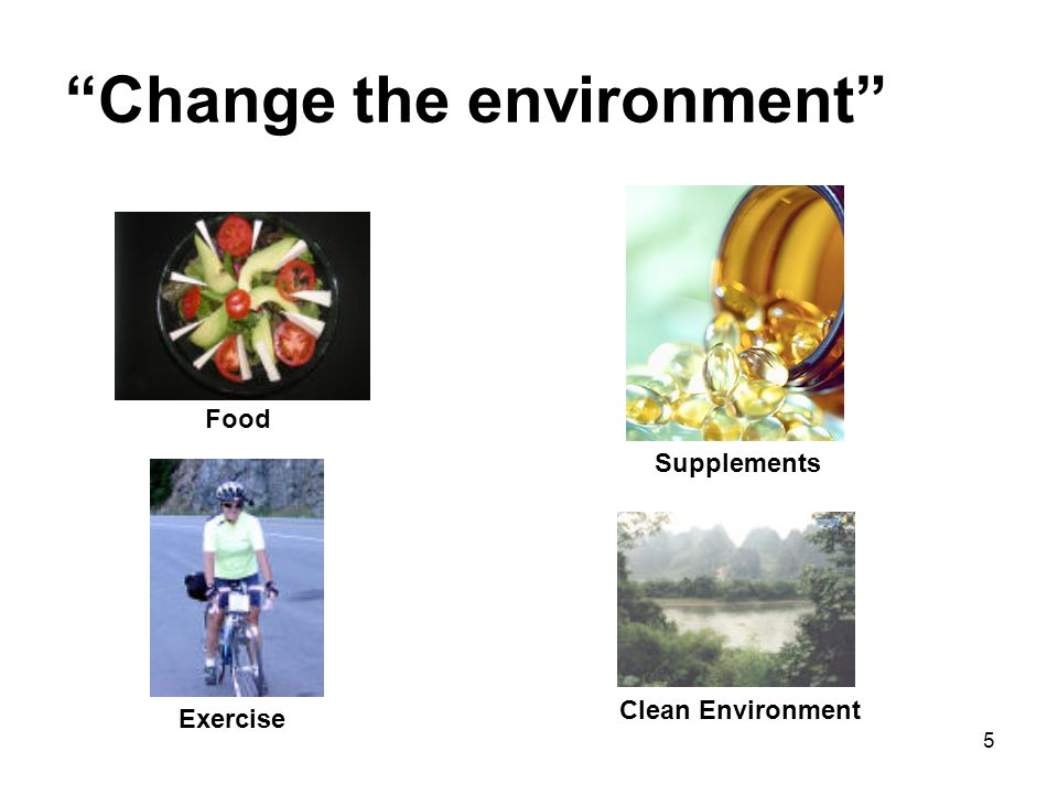 5 Change the environment Food Exercise Supplements Clean Environment