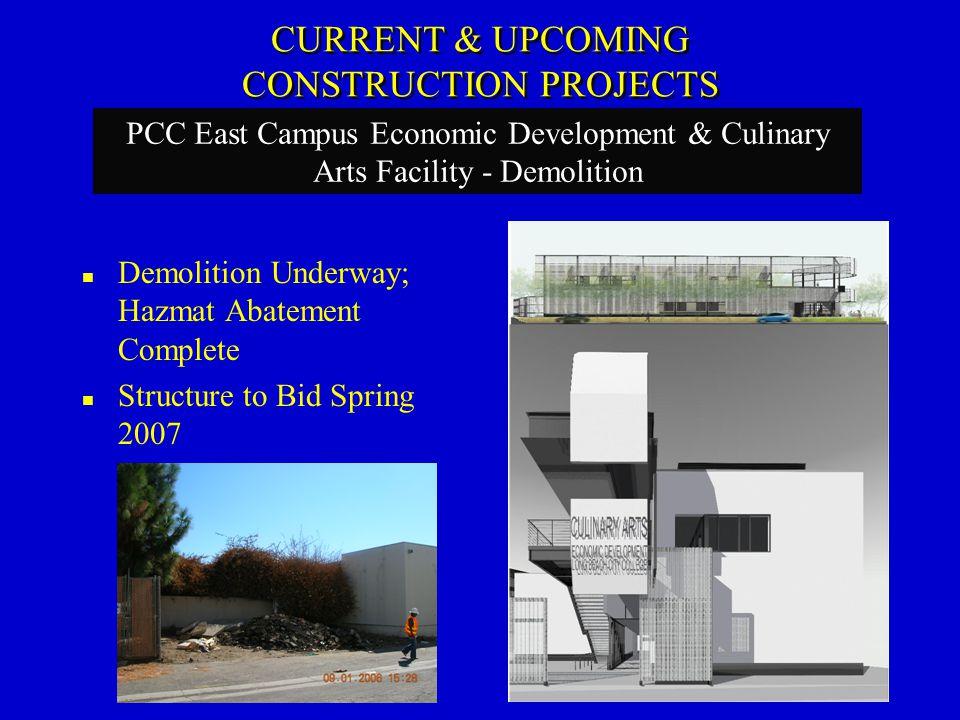 Demolition Underway; Hazmat Abatement Complete Structure to Bid Spring 2007 PCC East Campus Economic Development & Culinary Arts Facility - Demolition