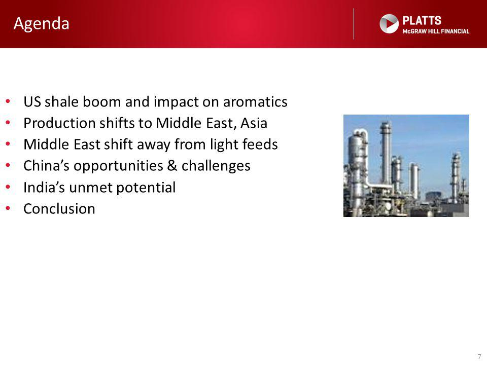 7 Agenda US shale boom and impact on aromatics Production shifts to Middle East, Asia Middle East shift away from light feeds China's opportunities & challenges India's unmet potential Conclusion
