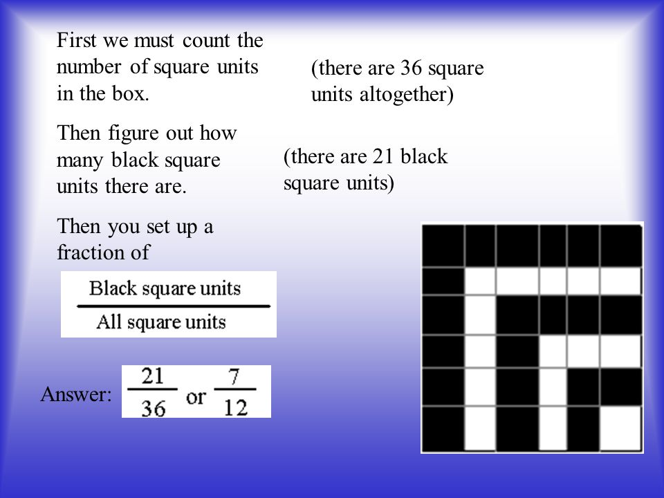 First we must count the number of square units in the box.