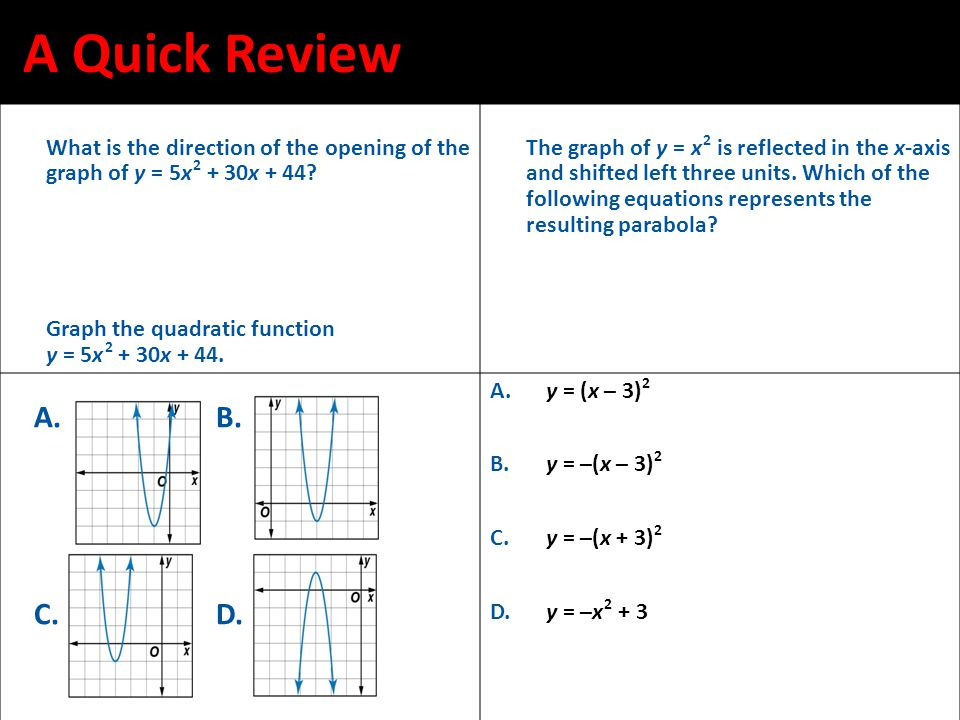 A Quick Review What is the direction of the opening of the graph of y = 5x 2 + 30x + 44.