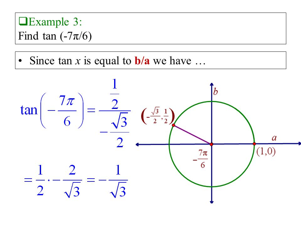 Example 3: Find tan (-7π/6) Since tan x is equal to b/a we have …