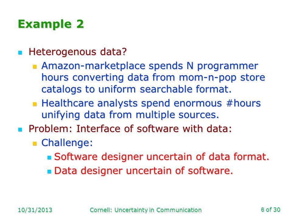 of 30 Example 2 Heterogenous data. Heterogenous data.