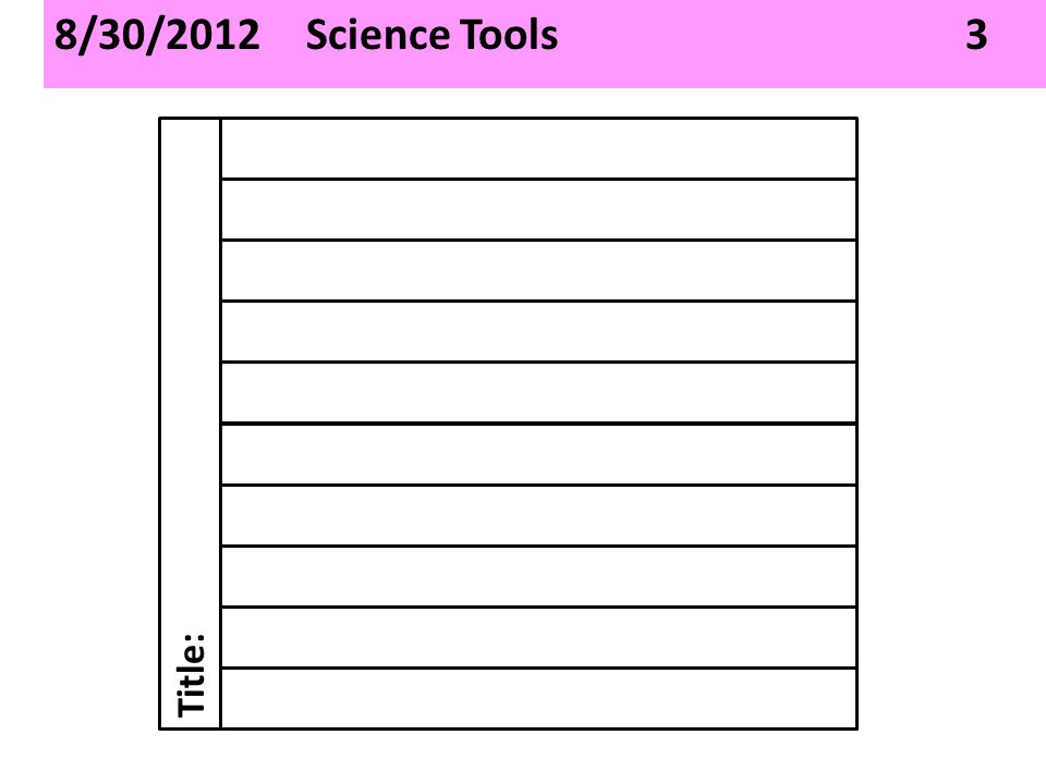 8/30/2012 Science Tools 3 Title: