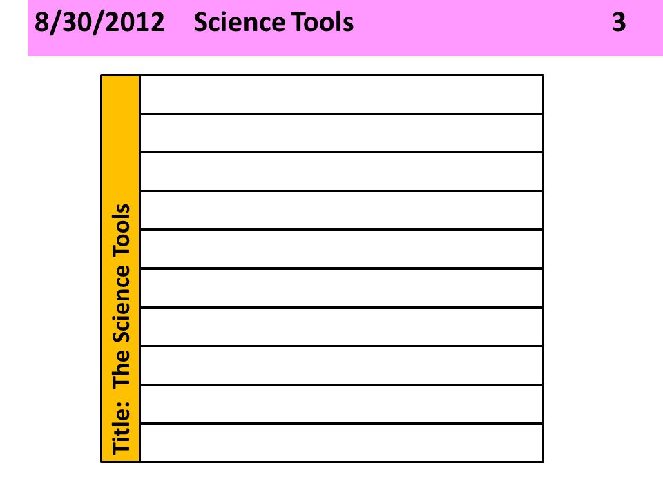 8/30/2012 Science Tools 3 Title: The Science Tools