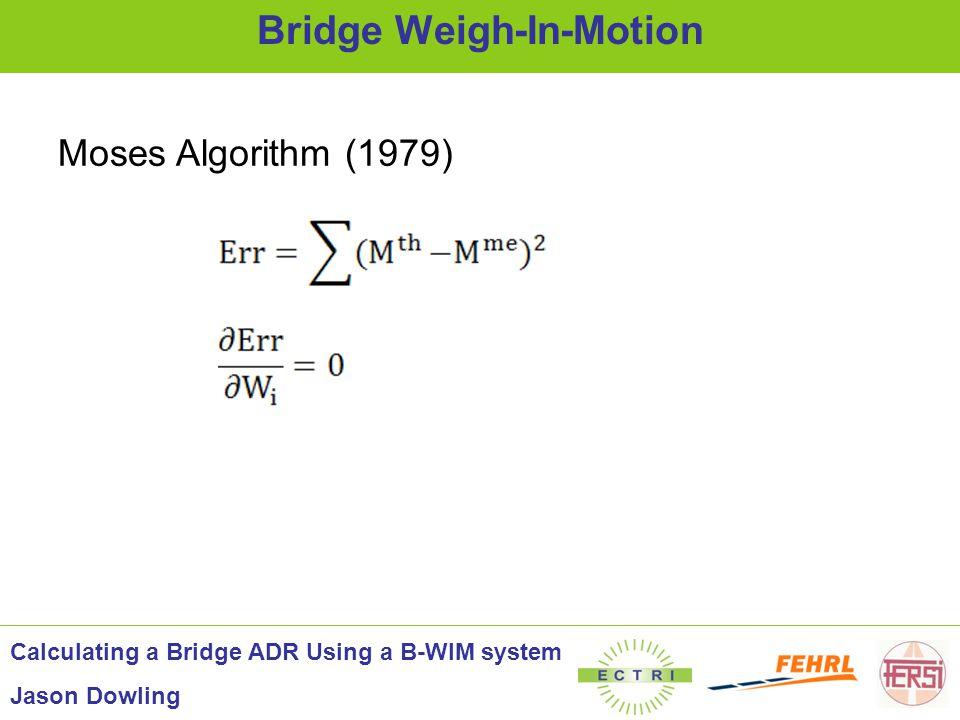 'Measured' Influence Line Theoretical Simulations - New Algorithm Calculating a Bridge ADR Using a B-WIM system Jason Dowling