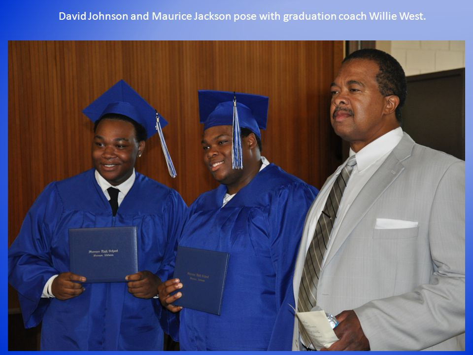 David Johnson and Maurice Jackson pose with graduation coach Willie West.