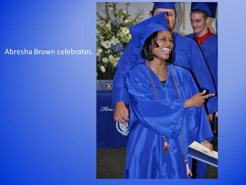 Abresha Brown celebrates.