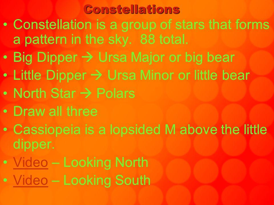 Circumpolar constellations  circle around polaris –Ursa Major, Ursa Minor, Cassiopeia Winter Constellations –Orion's Belt & the hunter Sirius is the left star on Orion's belt  the brightest star in the sky.