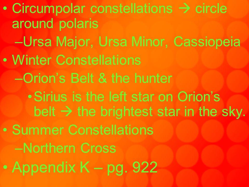 Circumpolar constellations  circle around polaris –Ursa Major, Ursa Minor, Cassiopeia Winter Constellations –Orion's Belt & the hunter Sirius is the