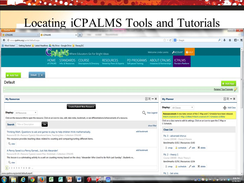 Locating iCPALMS Tools and Tutorials