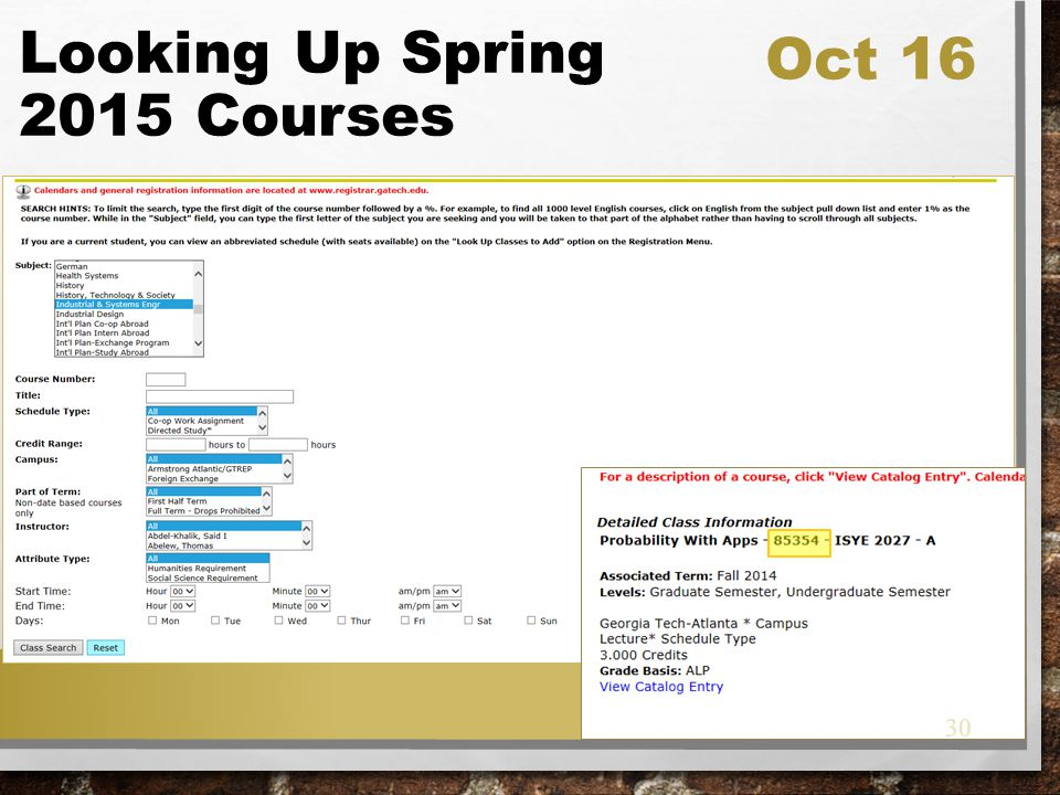 Looking Up Spring 2015 Courses Oct 16 30