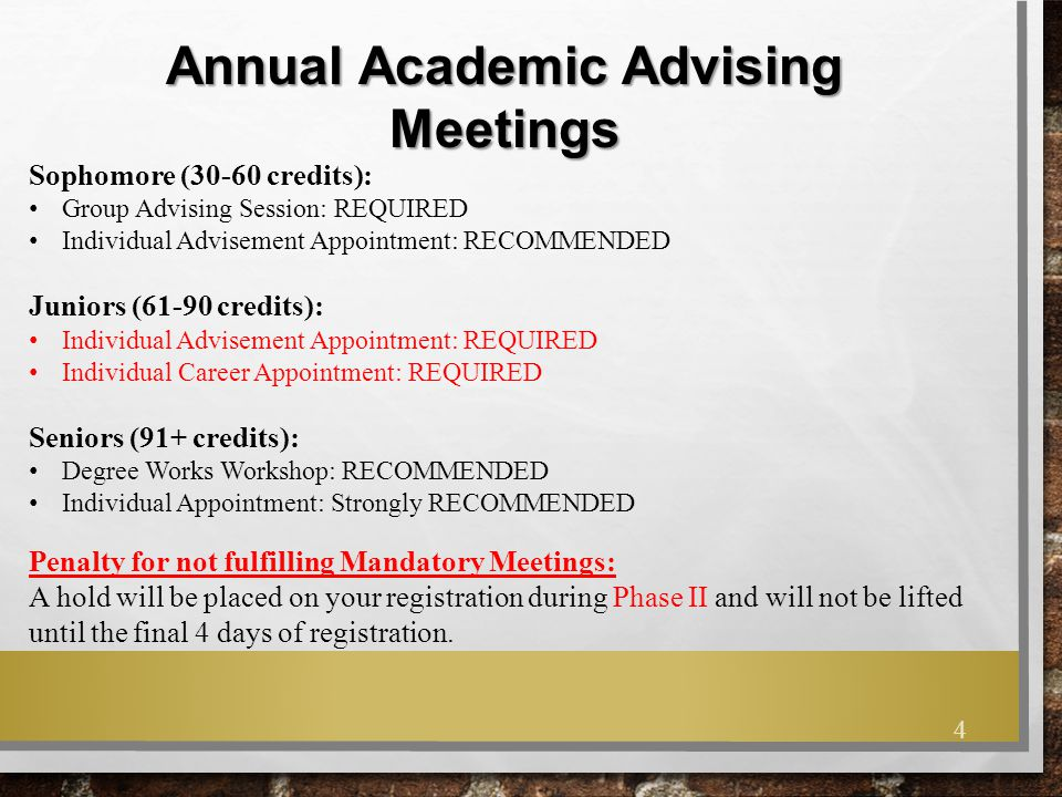 Annual Academic Advising Meetings Sophomore (30-60 credits): Group Advising Session: REQUIRED Individual Advisement Appointment: RECOMMENDED Juniors (