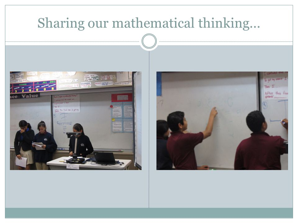 Sharing our mathematical thinking…