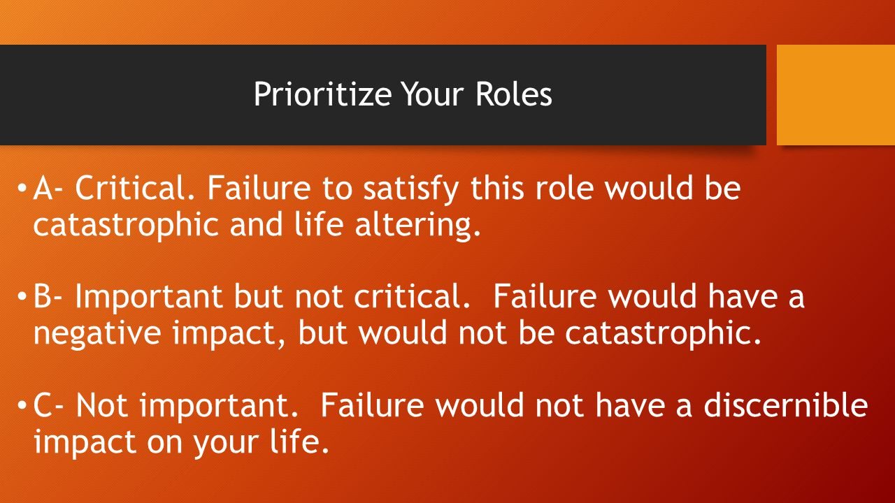 Prioritize Your Roles A- Critical.