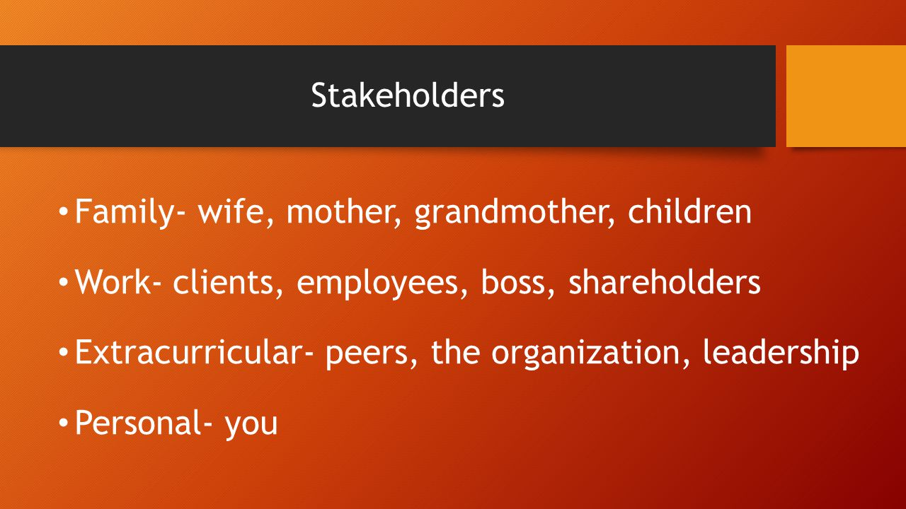 Stakeholders Family- wife, mother, grandmother, children Work- clients, employees, boss, shareholders Extracurricular- peers, the organization, leader
