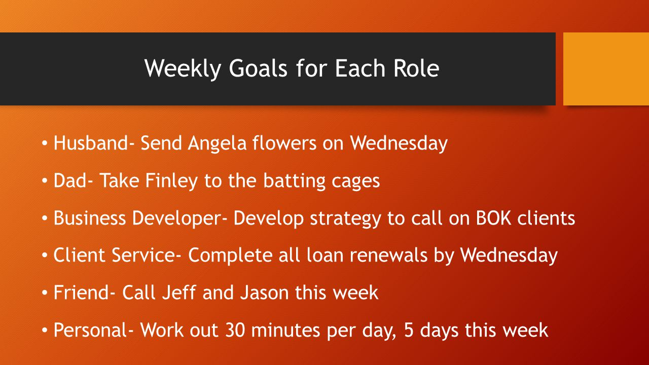 Weekly Goals for Each Role Husband- Send Angela flowers on Wednesday Dad- Take Finley to the batting cages Business Developer- Develop strategy to cal
