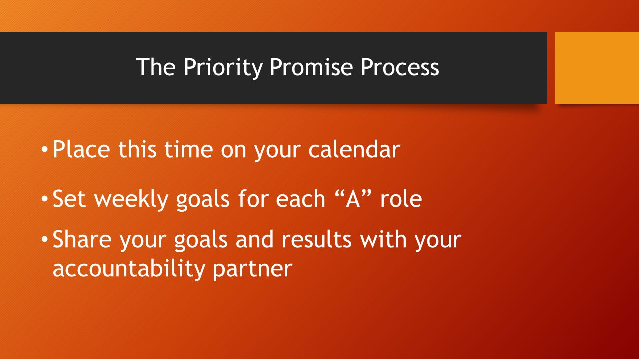 The Priority Promise Process Place this time on your calendar Set weekly goals for each A role Share your goals and results with your accountability partner