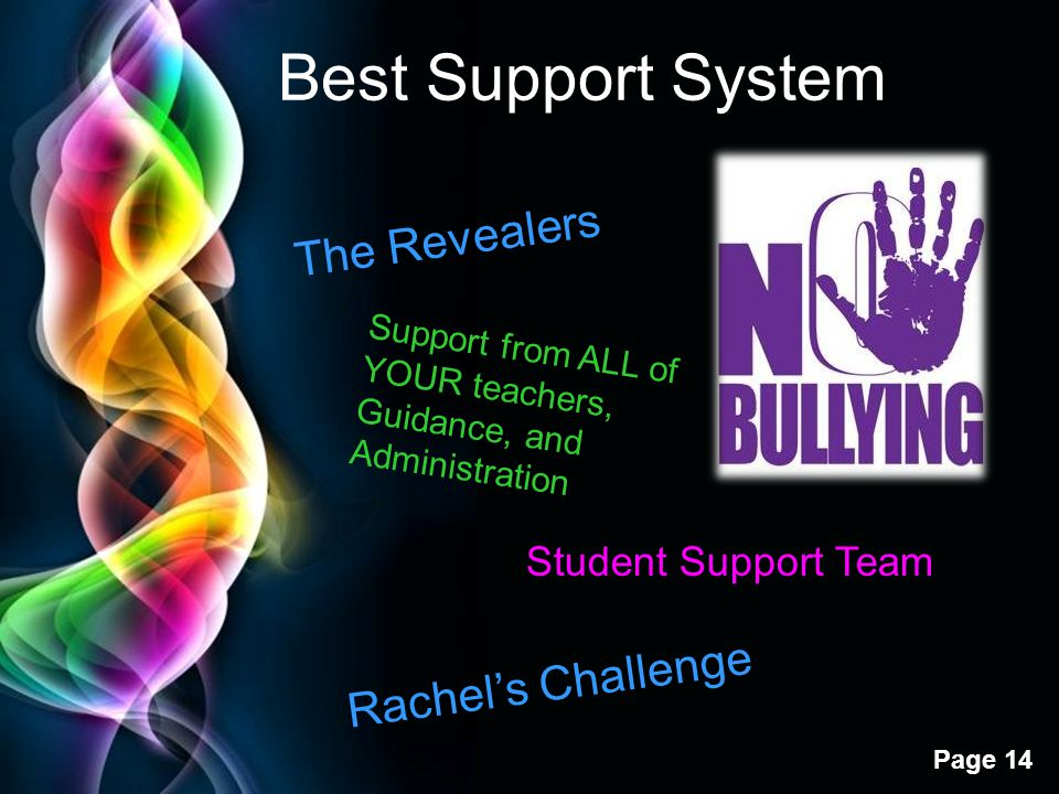 Free Powerpoint Templates Page 14 Best Support System The Revealers Student Support Team Support from ALL of YOUR teachers, Guidance, and Administrati
